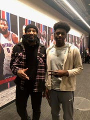 Enoch Boakye (right), a five-star center Mississauga, Ontario, stands for a picture with former Pistons center Andre Drummond.