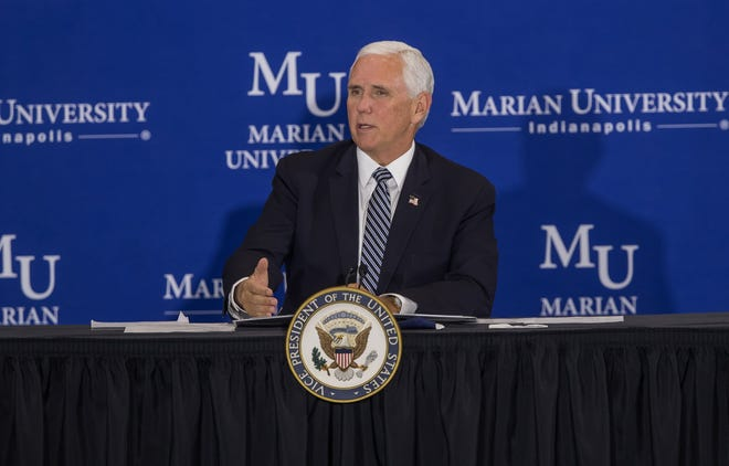 Vice President Mike Pence speaks during the forum at Marian University with higher education leaders about safely reopening schools amid the coronavirus pandemic on July 24, 2020.