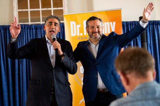 Republican U.S. Senate candidate Manny Sethi, left, and Sen. Ted Cruz, R-Texas, are seen together at a campaign event held at Southern Railway Station in Knoxville, Tenn., on Friday, July 24, 2020.