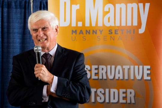 Former U.S. Rep. John J. Duncan Jr. campaigns for Republican Senate candidate Manny Sethi at a campaign event held at Southern Railway Station in Knoxville, Tenn., on Friday, July 24, 2020.