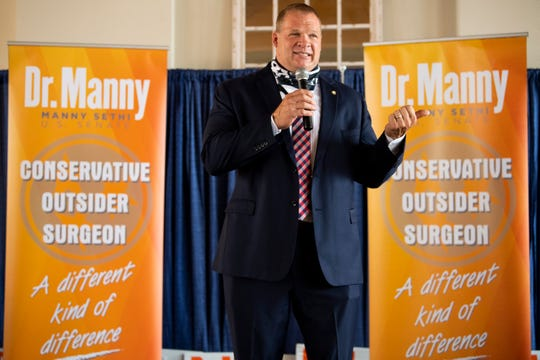 Knox County Mayor Glenn Jacobs campaigns for Republican Senate candidate Manny Sethi at a campaign event held at Southern Railway Station in Knoxville, Tenn., on Friday, July 24, 2020.