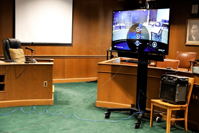 A new video system sits ready to use in the courtroom Fairfield County Common Pleas Judge Richard Berens. A similar system in Judge David Trimmer's courtroom allows legal proceedings to move forward for defendants who might be incarcerated or with health concerns during the coronavirus pandemic. The systems were provided by the state of Ohio.