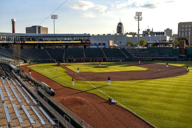 The Lemonade League summer baseball opener takes place in an empty Cooley Law School Stadium on Thursday, July 23, 2020, in Lansing.