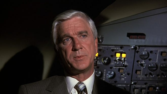 "Leslie Nielsen plays Dr. Rumack in the 1980 comedy ""Airplane!"", written and directed by Shorewood natives David Zucker, Jim Abrahams and Jerry Zucker."