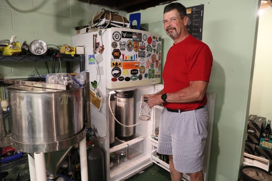 Rich Heller has been brewing his own beer for 25 years and is a member of the Beer Barons of Milwaukee, a homebrew club. His setup allows him to make 10 gallon batches at a time.