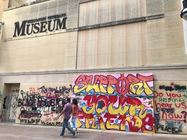 Graffiti has been on the Wisconsin Veterans Museum since protests started in late May.