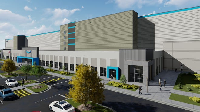 A rendering of the Amazon fulfillment center under construction in Mt. Juliet.
