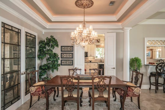 The formal dining space is perfect for large gatherings.