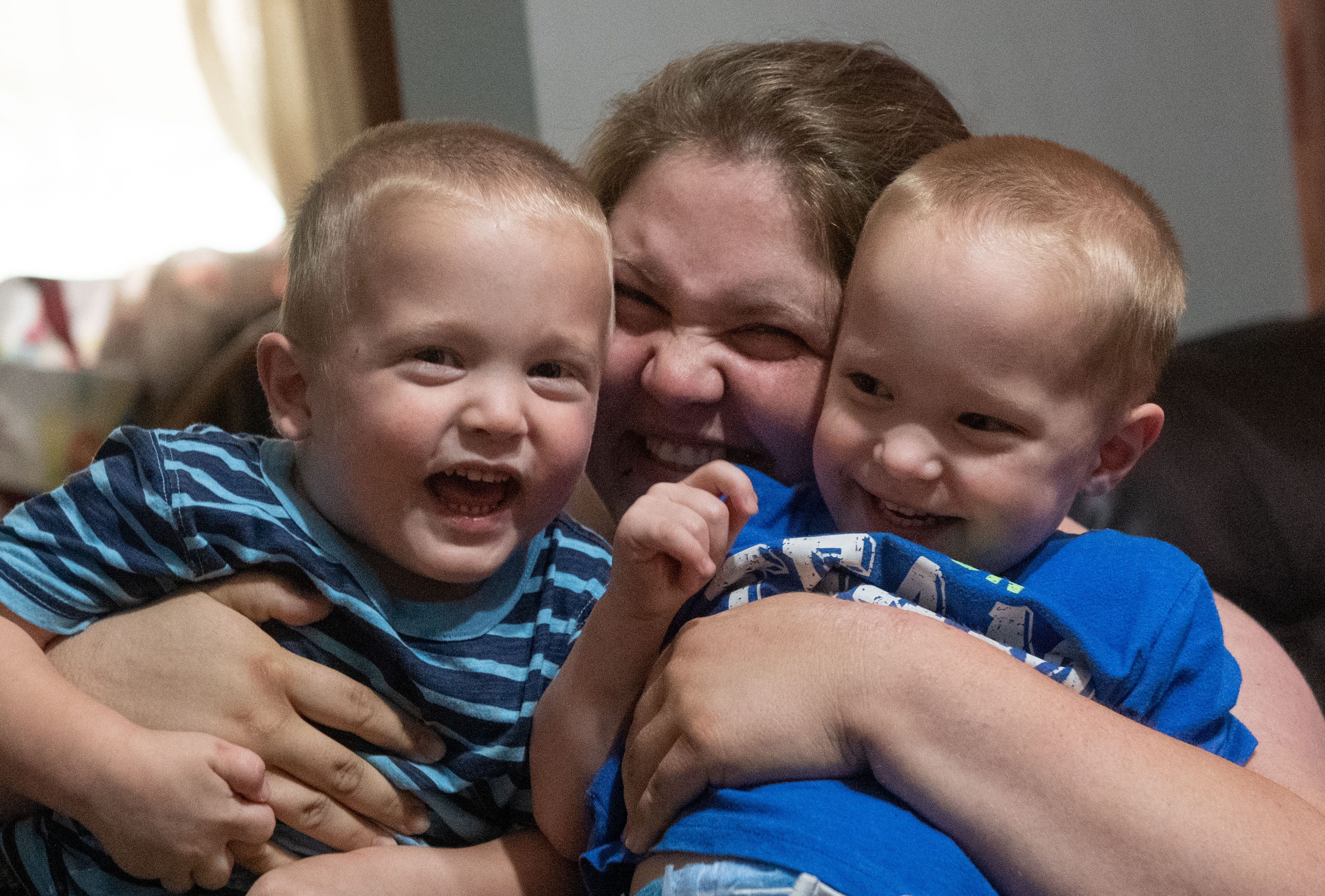Amanda Cree and her 3-year-old twin boys Michael (right) and Alexander (left) stay optimistic and look towards life after the pandemic, July 8, 2020.