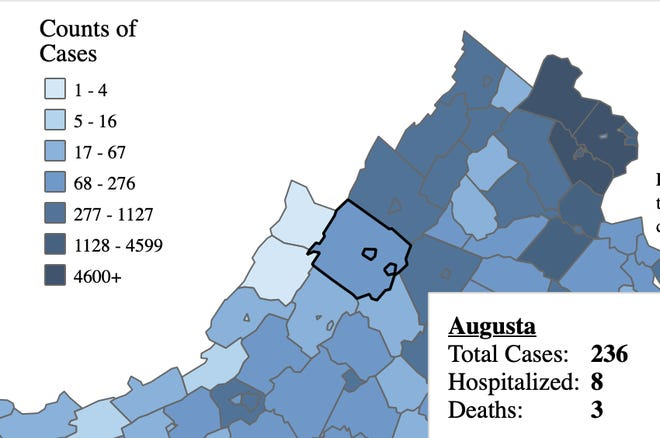 An image from the Virginia Department of Health COVID-19 dashboard for July 24 shows three deaths in Augusta County.