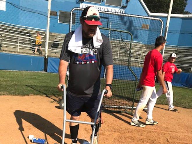 Staunton 16-18 Babe Ruth coach Chris Brown lines the field at John Moxie Stadium on Monday.