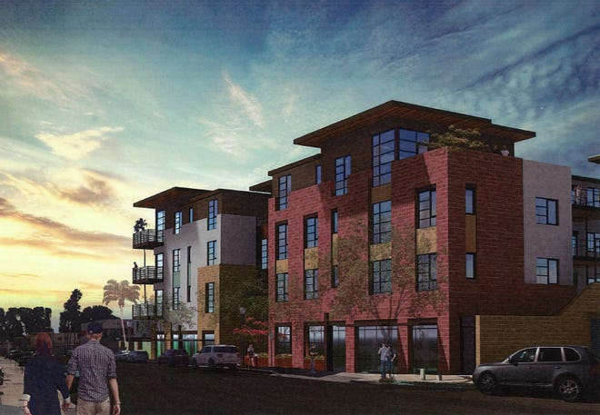 This rendering shows a recently approved 46-unit condo project at the corner of Laurel and Front Streets in Ventura.
