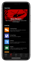 Listen to the free Zombies, Run! app and during the chilling tale about a zombie-infested future you must run faster as the zombies approach you in the story.