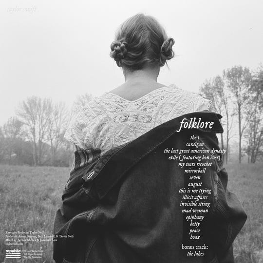 """The back cover and tracklist of Taylor Swift's """"Folklore."""""""