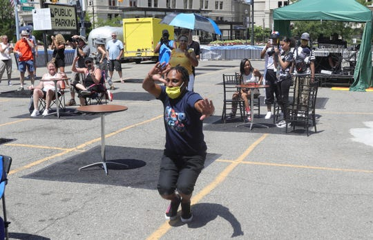 Dancer King L 1, a member of LongLiveJit, at the Detroit Music Weekend festival on July 25, 2020.