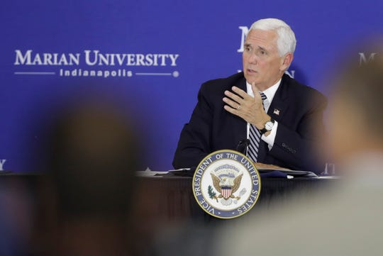 Vice President Mike Pence speaks during a meeting with higher education leaders on safely reopening schools, Friday, July 24, 2020, in Indianapolis.