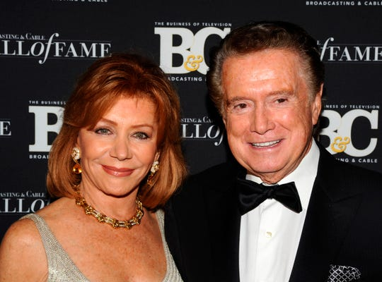 In this Oct. 27, 2010 file photo,  Regis Philbin and his wife Joy Philbin attend the 20th anniversary of The Broadcasting & Cable Hall of Fame, in New York.
