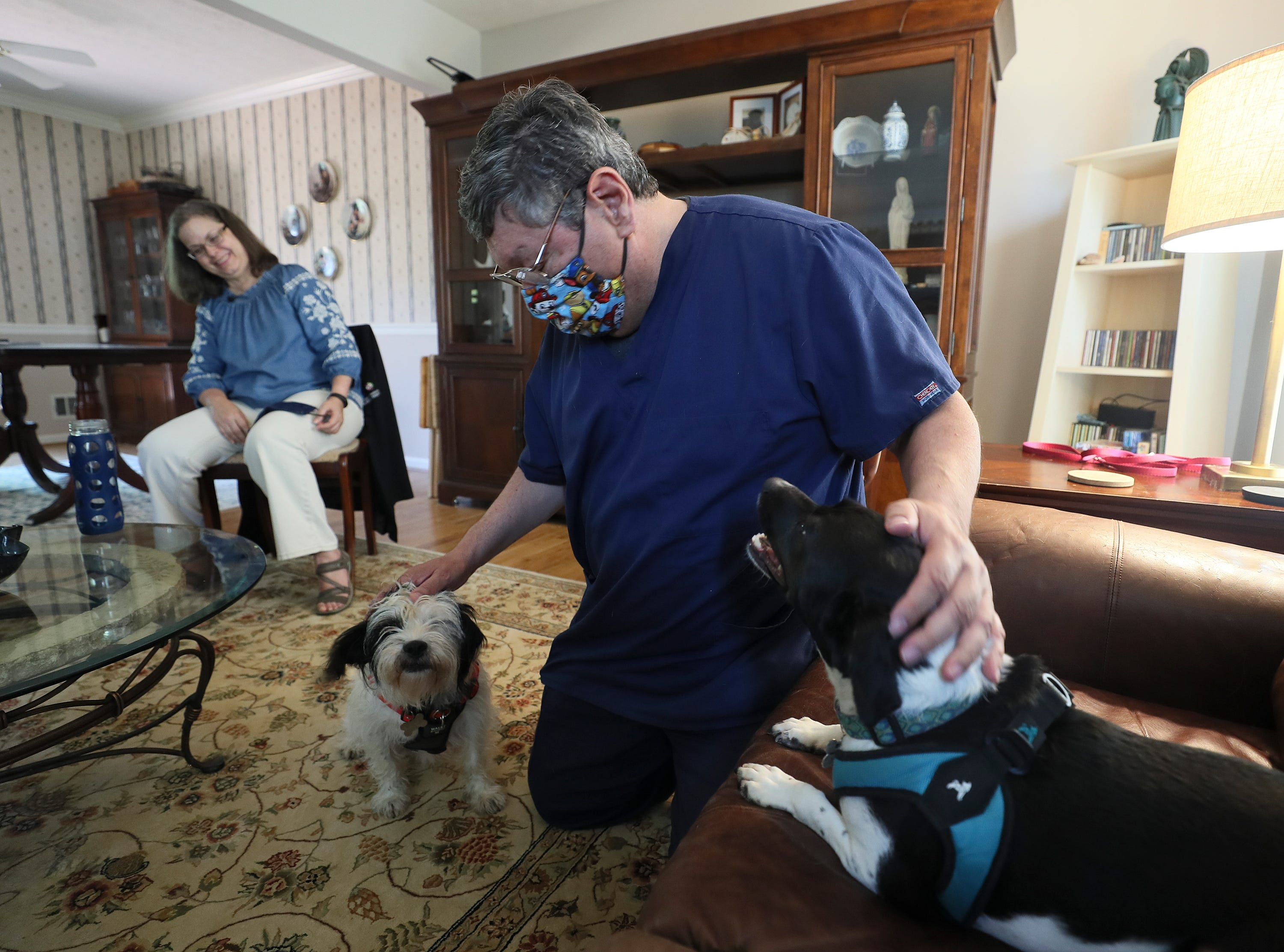 Adam Ruiz enjoys time at home with his wife and two dogs July 24.