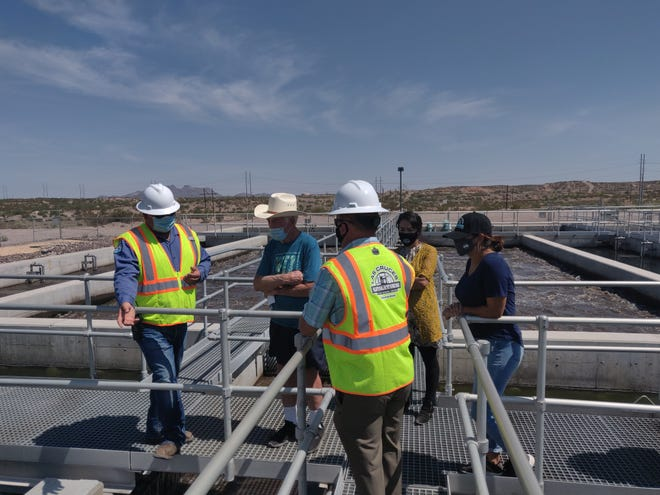 City Councilors Tessa Abeyta Stuve and Johana Bencomo and new Las Cruces Utilities Commissioner Harry Hardee heard about how water is reclaimed and processed at the East Mesa Reclamation Facility.