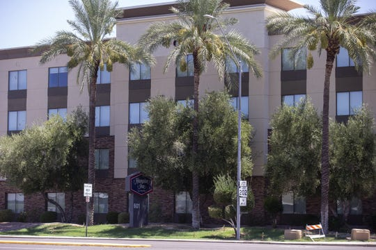 The Hampton Inn Phoenix-Airport North is pictured in Phoenix on July 24, 2020.