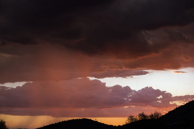 Rain falls over Scottsdale during a monsoon storm on July 24, 2020.