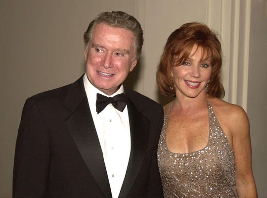 Regis Philbin and his wife Joy in 2001.  May 7  In New York, the American Cancer Society is soliciting funds in honor of Philbine.