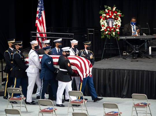 The body of Congressman John Lewis arrives for memorial services at Trojan Arena in Troy, Ala., on Saturday, July 25, 2020.(Via OlyDrop)
