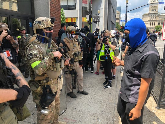 More than 40 Three Percenters demonstrated Saturday at a Black Lives Matter protest in Louisville, Kentucky, July 25, 2020