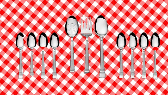 This 18/0 stainless-steel flatware includes 51 pieces.