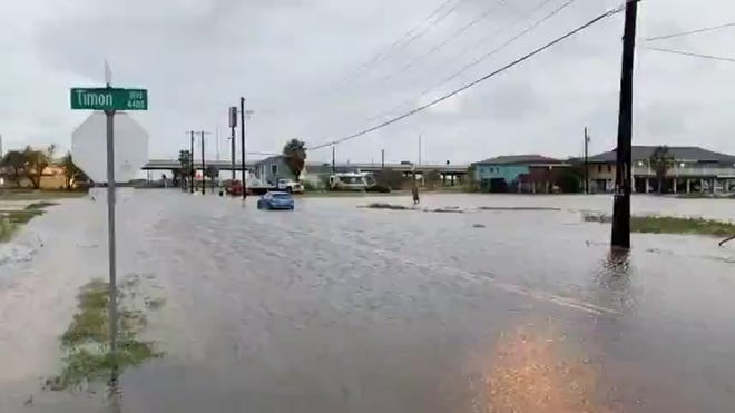 Flooding from Hurricane Hanna can be seen on Timon Street on North Beach in Corpus Christi, Texas on July 26, 2020.