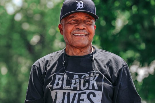Amzie Griffin, 86, a vendor at Comerica Park, was looking forward to working his 61st consecutive Detroit Tigers' Opening Day, until the novel coronavirus crisis derailed his plans. Griffin is photographed at his Detroit home on Saturday, July 25, 2020.