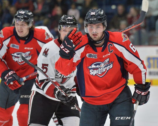 Luke Boka, right, spent the last five seasons with the Windsor Spitfires of the Ontario Hockey League, setting a franchise record for most games played with 313 games.