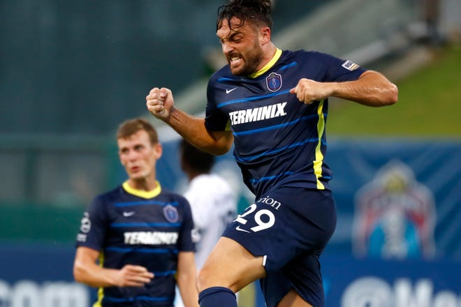 Memphis 901 FC's Brandon Allen celebrates his goal against Charlotte Independence on Saturday, July 25, 2020, during the first live-action at AutoZone Park since the season was put on hold to prevent the spread of the coronavirus back in March after the team's first game of the season.