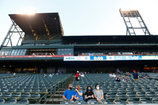 Fans watch as 901 FC takes on the Charlotte Independence in late July during the first live action at AutoZone Park since the season was put on hold in March.