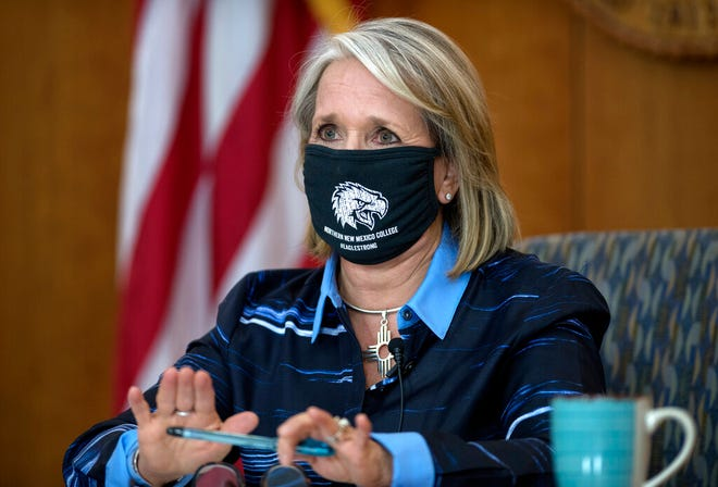 New Mexico Gov. Michelle Lujan Grisham gives her weekly update on COVID-19 and the state's effort to contain it during a virtual news conference from the state Capitol in Santa Fe, N.M., on Thursday, July 23, 2020.