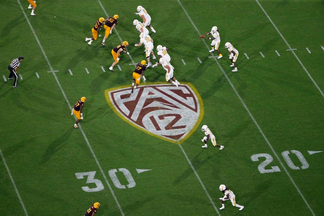 The Pac-12 logo is shown during an Arizona State game last season.