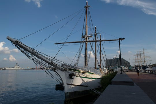 The historic tall ship Gazela rests at its Delaware River dock on the Philadelphia waterfront, Friday, July 17, 2020. The ship has not opened to visitors this summer but is seeking more volunteers to assist with  onboard maintenance.