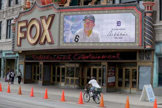 The Fox Theatre marquee displays a tribute to Al Kaline before the Detroit Tigers play their season opener against the Kansas City Royals at Comerica Park Monday, July 27, 2020.