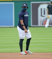 Detroit Tigers infielder Dawel Lugo fields grounders during batting practice before the season opener against the Kansas City Royals at Comerica Park Monday, July 27, 2020.