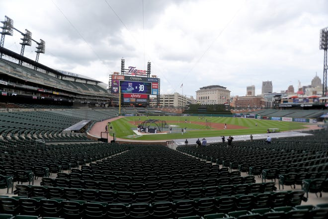 Detroit Tigers take batting practice in an empty stadium before the season opener against the Kansas City Royals at Comerica Park Monday, July 27, 2020.