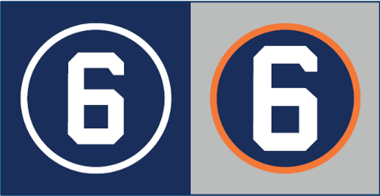 Detroit Tigers' No. 6 uniform patch to honor Al Kaline during the 2020 season. Home patch, left, road patch, right.