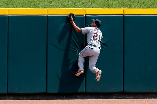 JaCoby Jones had a stellar catch in center field against the Reds over the Detroit Tigers' opening weekend.
