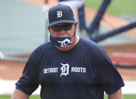 Detroit Tigers manager Ron Gardenhire on the field during batting practice before the season opener against the Kansas City Royals at Comerica Park Monday, July 27, 2020.
