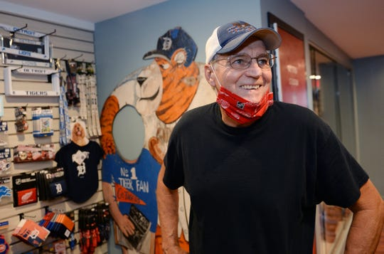David Walls, 70, of Warren, shops for Tigers gear at the Gameday Detroit shop Monday.