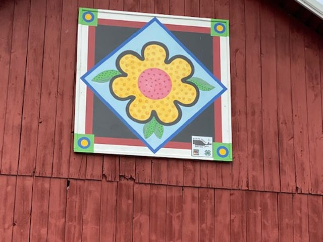 This barn featuring a sunflower quilt is on the  Valasek Farm, 2100 N. Opfer-Lentz Road, Martin.