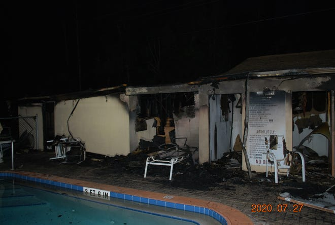 An electrical fire damaged the community pool house at the Royal Woods development off Island Park Road in south Lee County Monday morning.