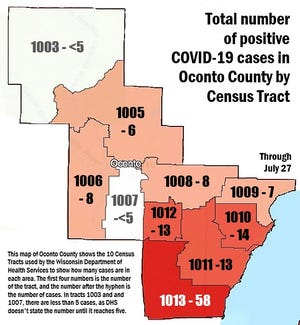 Total number of positive COVID-19 cases in Oconto County in each Census Tract.