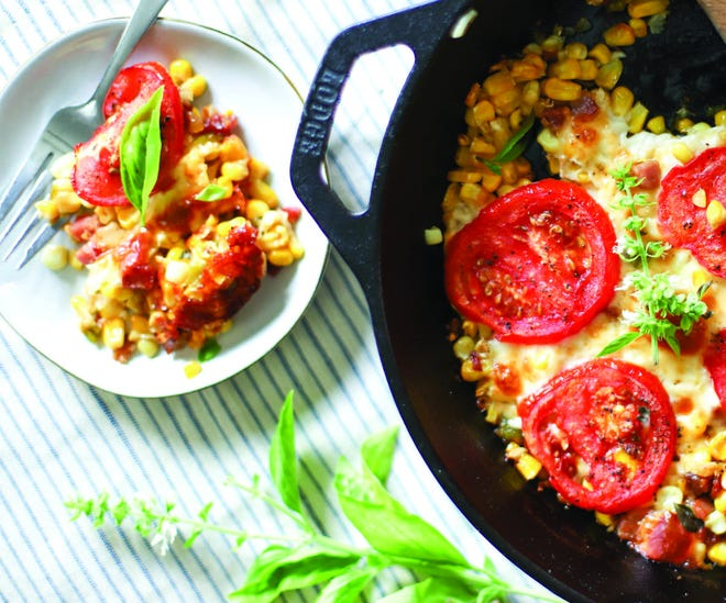 Skillet corn with tomatoes and pancetta