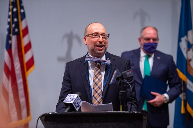 Bryan MacDonald, Chief Executive Officer of SchoolMint speaking at Press Conference at the LITE Center. Monday, July 27, 2020.