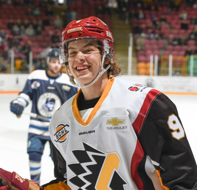 Hartland High graduate Joey Larson had 14 goals and 19 assists in 52 games with the Chilliwack Chiefs of the British Columbia Hockey League in 2019-20.